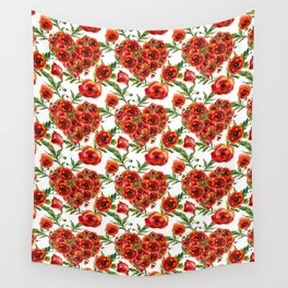 Poppy Heart pattern Wall Tapestry