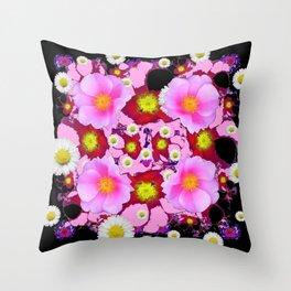 Black Design & Pink Roses Shasta Daisies Art Abstract Throw Pillow
