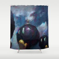 battlefield Shower Curtains featuring Mario by Ronan Lynam