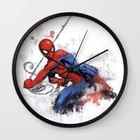 spider man Wall Clocks featuring Spider-Man  by Isaak_Rodriguez
