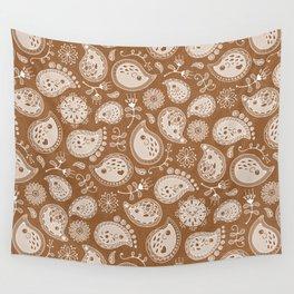 Hedgehog Paisley_Moka Wall Tapestry