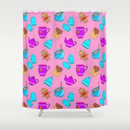 Sweet gingerbread men cookies, chocolate bars, hot cocoa with marshmallows, tea pots winter pattern Shower Curtain