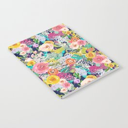 Autumn Blooms on Navy Seamless Repeat Notebook