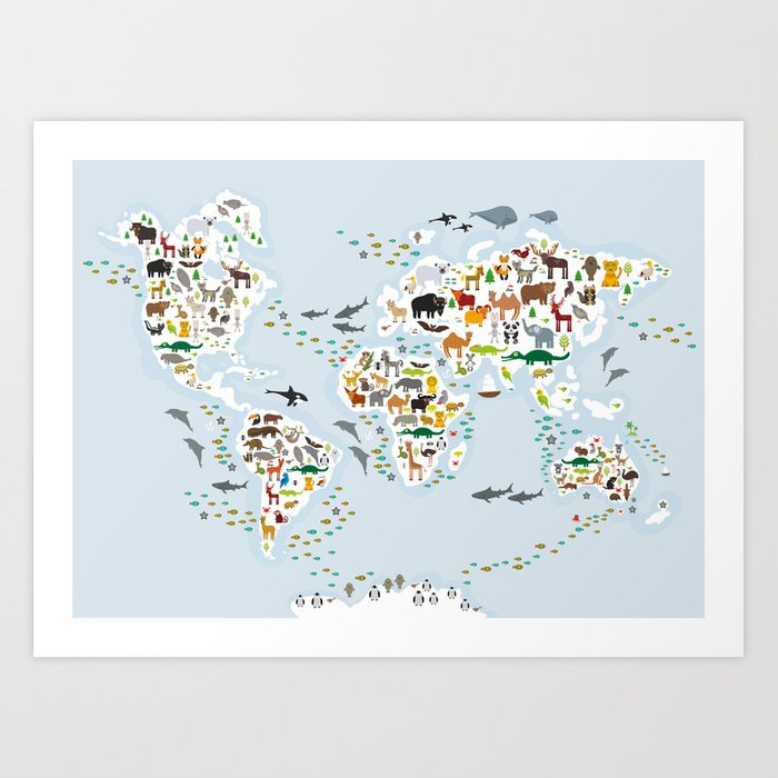 Cartoon animal world map for children and kids, Animals from all over on