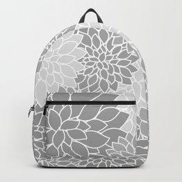 Gray Dahlias / Gray Flowers Backpack