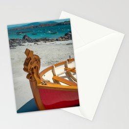 Red Wooden Boat With Celtic Horse Design on the Prow, Isle of Iona, Scotland Stationery Cards