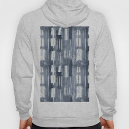Simply Shibori Lines in Indigo Blue on Lunar Gray Hoody