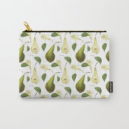 Watercolor seamless pattern with pears Conference and leaves. Botanical isolated illustration.  Carry-All Pouch