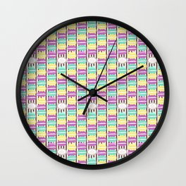 Macaron Stripes in Brown Wall Clock