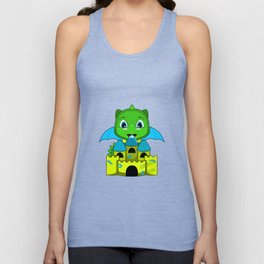 Chibi Dragon With A Blue And Yellow Castle Unisex Tank Top