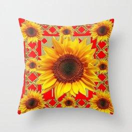 Ornate red Design Sunflower Art Throw Pillow