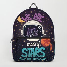 We are all made of stars, typography modern poster design with astronaut helmet and night sky Backpack