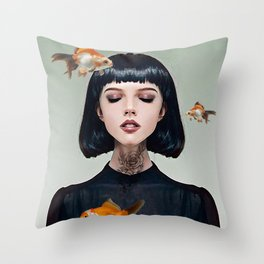 Goldfish Dreaming Throw Pillow