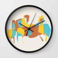 horses Wall Clocks featuring Horses by Pablo Correa
