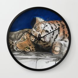 Amur Leopard - Mother and Cub Wall Clock