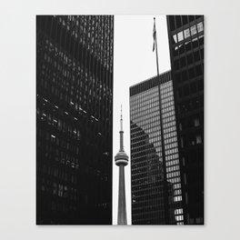 CN Tower Between Buildings Canvas Print