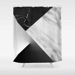 Monochromatic Marble Collage  Shower Curtain