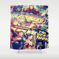 comics Shower Curtains featuring Comics by Miss-Lys