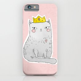 Cute cat with crown pink background iPhone Case