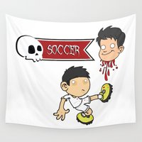 soccer Wall Tapestries featuring Soccer Skull by flydesign