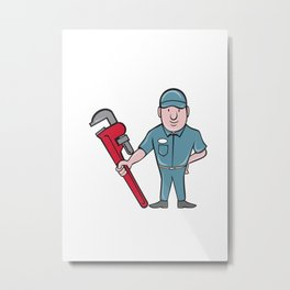 Plumber Standing Attention Wrench Cartoon Metal Print