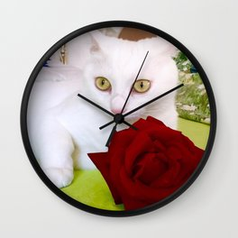 Tyche and the red rose Wall Clock