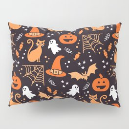 Halloween party illustrations orange, black Pillow Sham