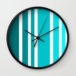 Striped Ombre in Turquoise Wall Clock