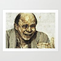 princess bride Art Prints featuring Vizzini from Princess Bride by Aaron Bir