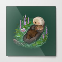 Sea Otter Mother & Baby Metal Print