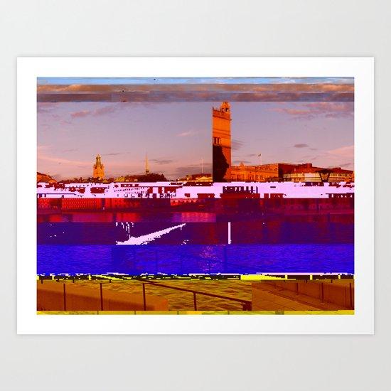 Stockholm Glitched Art Print