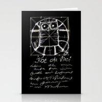 da vinci Stationery Cards featuring Kot da Vinci (black) by Katja Main