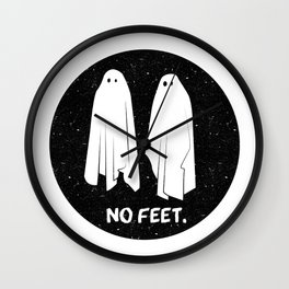 No Feet Ghosts Black and White Graphic Wall Clock