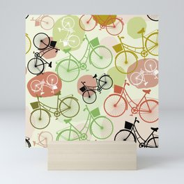 Vintage bicycles, seamless pattern, pastel green brown beige colors Mini Art Print