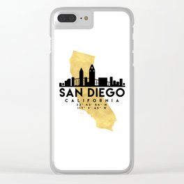 SAN DIEGO CALIFORNIA SILHOUETTE SKYLINE MAP ART Clear iPhone Case