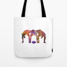 Rugby men players 05 in watercolor Tote Bag