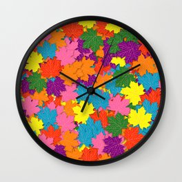 Colorful maple leaves pattern Wall Clock