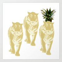 tigers Art Prints featuring tigers by vica
