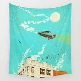 VINTAGE FLYING CAR Wall Tapestry