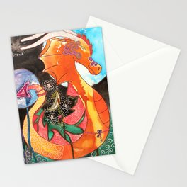 Fantastic animal - My new friend Drago - dragon - by LiliFlore Stationery Cards