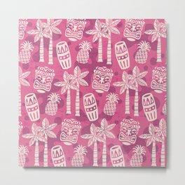 Retro Mid Century Modern Tiki Pattern 526 Pink Metal Print
