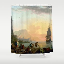 Claude-Joseph Vernet A Calm at Mediterranean Port Shower Curtain