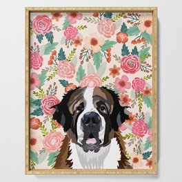 Saint Bernard floral pet portrait dog breed gifts for pure breed dog lovers Serving Tray