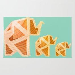 Wooden Origami Elephants Rug