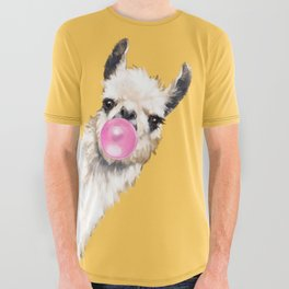 Bubble Gum Sneaky Llama in Yellow All Over Graphic Tee