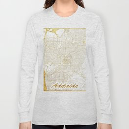 Adelaide Map Gold Long Sleeve T-shirt