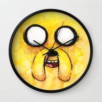 jake Wall Clocks featuring Jake Face by Olechka
