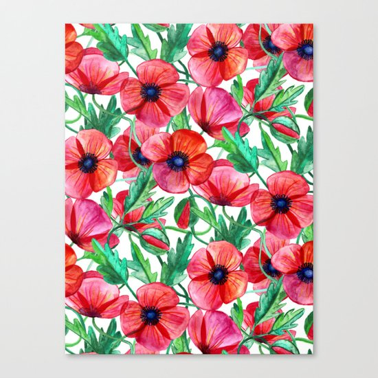 Plenty of Poppies - white Canvas Print