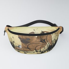 Cute little chihuahua with flowers Fanny Pack