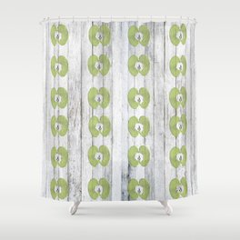 White Wood Apples Shower Curtain